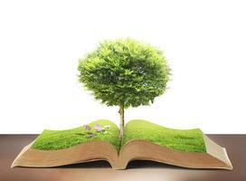 libro della natura con erba e albero