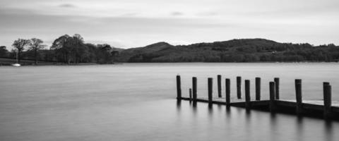 lunga esposizione paesaggio di acqua coniston nel distretto del lago