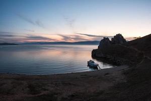 tardo tramonto paesaggio, baikal, russia