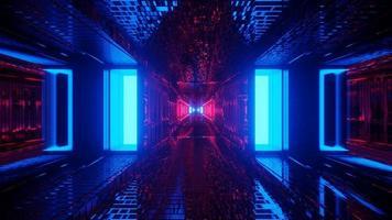 illustrazione 3d del pannello blu e rosso illuminato
