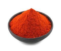 peperoncino rosso in polvere su sfondo bianco foto