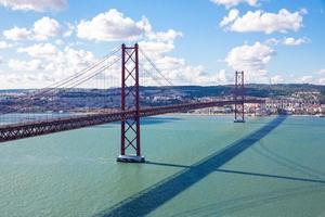 ponte di Lisbona con il paesaggio urbano