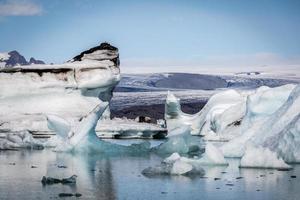 Islanda, laguna glaciale di Jokulsarlon al tramonto