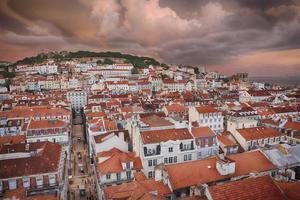 città di Lisbona nel tramonto dall'alto