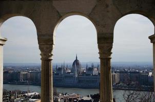 parlamento di budapest con il fiume danubio