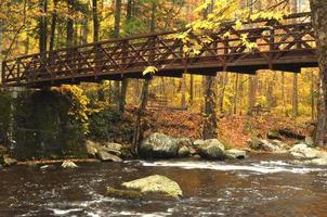 piccolo piede in metallo attraversa un fiume durante l'autunno.