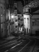 foto in scala di grigi di vicolo a Lisbona