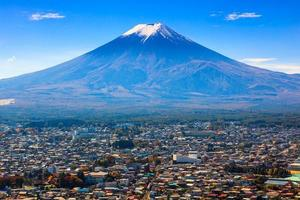Vista aerea del Monte Fuji, Fujiyoshida, Giappone foto