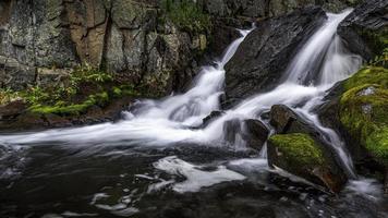 cascata estiva nel ruscello ghiacciato
