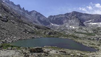sopra il lago blu nel parco nazionale delle montagne rocciose