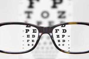 esame della vista attraverso gli occhiali foto
