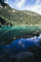 alberi di pino che circondano lo specchio d'acqua