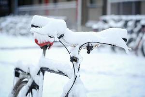 bicicletta con la neve