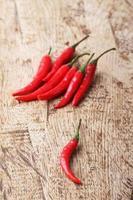 peperoncino rosso caldo su fondo in legno