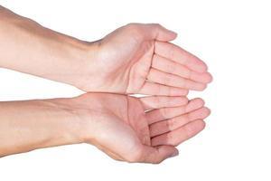 mani su sfondo bianco