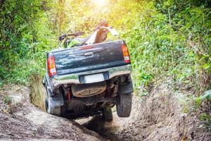 camion che guida attraverso la foresta