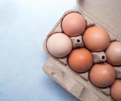 primo piano di uova in una scatola per uova / cartone
