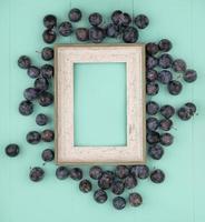 vista dall'alto delle prugnole di piccoli frutti scuri su sfondo blu con spazio di copia foto