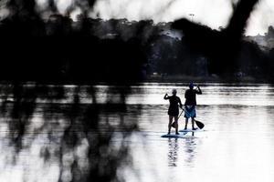 sydney, australia, 2020 - due persone si alzano in piedi sul paddleboarding foto