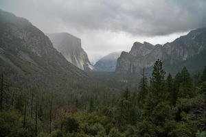 alberi verdi vicino alla montagna sotto il cielo bianco durante il giorno foto