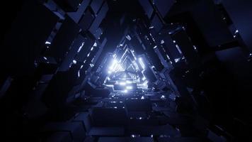 un tunnel spaziale triangolo illustrazione 3d con texture