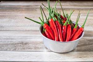 peperoncino rosso in una ciotola su un tavolo di legno