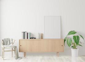poster per interni di casa mock up con cornice in soggiorno e sfondo muro bianco foto