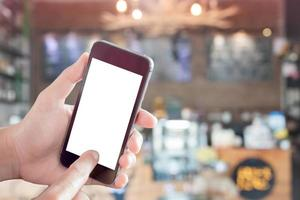 mock-up di smartphone in un ristorante