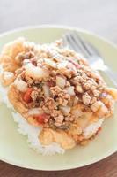 piatto di maiale fritto con salsa di pomodoro