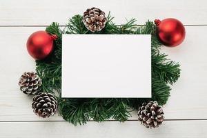 modello di mockup di biglietto di auguri di buon natale foto