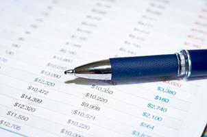 primo piano di una penna blu e delle finanze