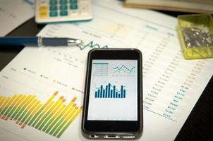 smartphone con grafici a linee su di esso