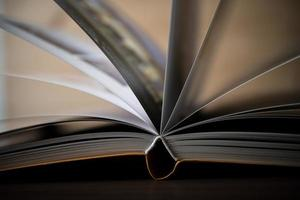 primo piano di un libro aperto su un tavolo di legno