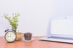 laptop e fiore sulla scrivania