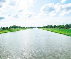 Il convogliamento dell'acqua e i canali di distribuzione .un canale di irrigazione con un sentiero che lo costeggia tra campi verdi e cielo blu. bellissimo paesaggio a banglan nakornpatum thailandia