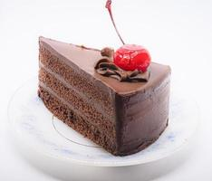 cioccolato con torta di ciliegie foto