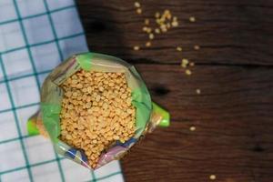 vista dall'alto di fagioli di soia