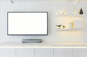 Mobile TV interno moderno design della camera e accogliente stile di vita, credenza in legno sulla parete bianca foto