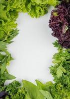 Vista dall'alto di verdure verdi come basilico di lattuga menta coriandolo su sfondo bianco con spazio di copia