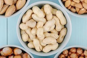 vista dall'alto di arachidi in guscio in una ciotola su sfondo blu
