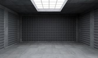 Illustrazione 3D di una stanza nera senza finestre