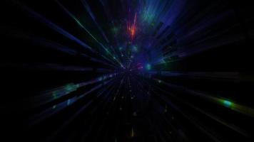 tunnel al neon incandescente scuro luci in movimento 3d illustrazione sfondo carta da parati design artwork foto