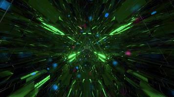 tunnel spaziale con particelle incandescenti illustrazione 3d motion design sfondo wallpaper design artwork foto