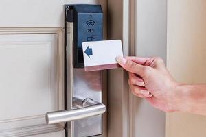 keycard della porta dell'hotel