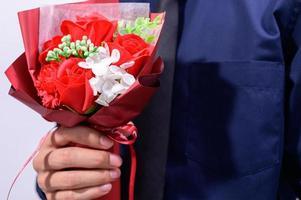 bouquet bianco e rosso foto