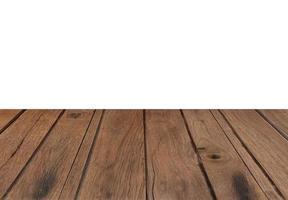 tavolo in legno rustico su bianco