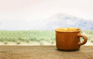 tazza marrone davanti al campo foto