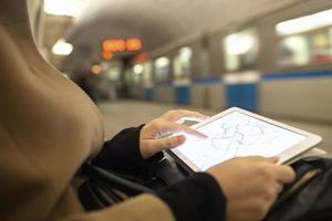 persona che utilizza un tablet in una metropolitana