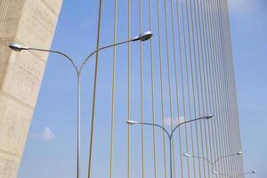 lampade disposte in fila sotto il ponte