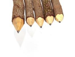 corteccia di legno matita isolato su bianco foto